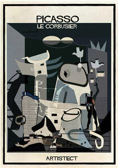 20th-Century Architecture Looks at Home Amidst Famous Art, by Italian illustrator Federico Babina