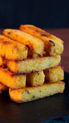 Polenta Fries With Garlic Aioli These baked polenta fries are crunchy on the outside and creamy on the inside. Meet your new favorite snack.These baked polenta fries are crunchy on the outside and creamy on the inside. Meet your new favorite snack.