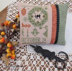 """Stitching Dreams """"Quaker Boo"""" design from The Sampler Girl"""