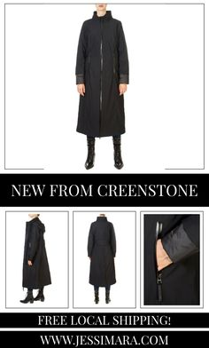 This is the 'Sara' Classic Long Black Coat by stunning brand Creenstone. This gorgeous piece features a central double zipper fastening, and side zip pockets. This is the perfect piece to carry you into the colder season! Long Black, Shop Now, Pockets, Zipper, Coat, Classic, Clothing, Shopping, Collection