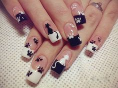 Get ready for some manicure magic as we bring you the hottest nail designs from celebrities, beauty brands and the catwalks Frensh Nails, French Manicure Nails, Cat Nails, Manicure And Pedicure, Manicure Ideas, Cat Nail Art, Animal Nail Art, Paw Print Nails, Finger