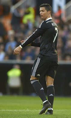 Cristiano Ronaldo of Real Madrid reacts during the La Liga match between Valencia CF and Real Madrid CF at Estadi de Mestalla on January 4, 2015 in Valencia, Spain.