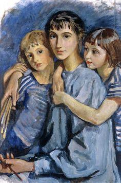 Zinaida Yevgenyevna Serebriakova (Russian artist, 1884-1967) Self Portrait with Children  It's About Time: 1900s Women Artists