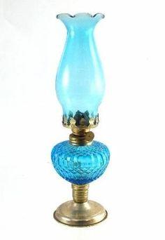 Vintage Hurricane Lamps Glass | Vintage Blue Glass Hurricane Oil Lamp
