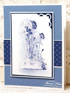 The flower image was first stamped in Whisper White and heat embossed with white.  Wisteria Wonder was sponged around the embossed design. Then the flower was stamped again in Concord Crush.  Such an easy technique with a powerful impact.