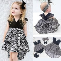 Fashion Baby Girl Clothes Leopard Suit Lace Ruffles Sleeve Romper Dress + Headband Outfit Toddler Kids Summer Costume - Kid Shop Global - Kids & Baby Shop Online - baby & kids clothing, toys for baby & kid Baby Outfits, Summer Fashion Outfits, Toddler Outfits, Dress Outfits, Dress Fashion, Fashion Clothes, Fall Fashion, Fashion Accessories, Leopard Outfits