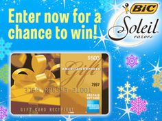 Enter the BIC Soleil Holiday Happiness Giveaway now for a chance to win a $500 American Express Gift Card!  ~ on CouponCrazyFreebieFanatic.com