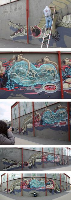 Rabbit Eye Movement, REM, started as a Streetart concept, based in Vienna, founded by the urban/graffiti artist and illustrator Nychos in 2005 and still has a big impact in the Urban Art World. Nyc…