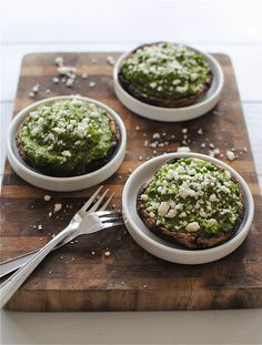 Portobello mushrooms with kale pesto guacamole.