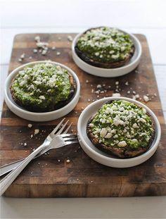 Portobello mushrooms with kale pesto guacamole.