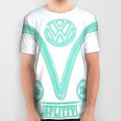 VW Splitty Teal All Over Print Shirts #VW #Volkswagen #tees #shirt #tshirt #clothing #splitty #bus #campervan #teal