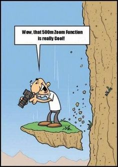 funny pictures cartoon man falling off cliff, but he did get the shot!