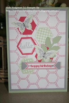 Six Sided Sampler. Papillion Potpourri Stamp Set. Honeycomb Embossing Folder (used to make background pattern in Strawberry Slush). Hexagon Punch. Butterfly punches. Strawberry Slush, Smoky Slate, Pistachio Pudding.
