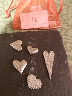 """""""With Love"""" Little Bag of 5 Pewter #Charms. £10.95 from Harriet and Dee  01614382500"""