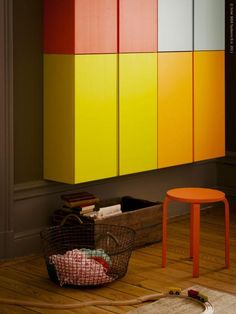 Ikea ivar stacked cabinets for basement