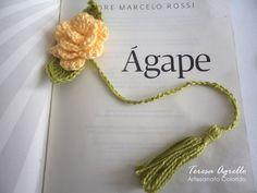 As Receitas de Crochê: Marcador de páginas Rosa de croche