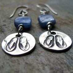 Silver Flip Flop Earrings PMC Artisan Jewelry by staciejewelry, $48.00