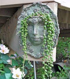 Goddess face planter for a wall Face Planters, Flower Planters, Ceramic Planters, Garden Planters, Flower Pots, Pot Plante, Cactus Y Suculentas, Garden Ornaments, Cacti And Succulents