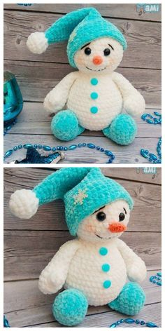 This crochet plush snowman toy is too cute! Amigurumi snowman toy like this is soft, squeezable for kids to touch Crochet Christmas Decorations, Christmas Crochet Patterns, Holiday Crochet, Crochet Gifts, Crochet Amigurumi Free Patterns, Crochet Dolls, Free Crochet, Crochet Snowman, Yarn Crafts