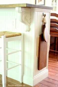 Decoration Kitchen - IKEA bookcases turned kitchen island details with beadboard, easy upgrade projec. Kitchen Island Ikea Hack, Kitchen Island Storage, Kitchen Redo, New Kitchen, Kitchen Remodel, Ikea Island, Half Wall Kitchen, Kitchen Ideas, Island Bar