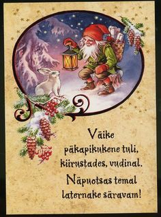 Dwarf with lantern and giftbasket, by Lars Carlsson