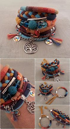 Three of Life Boho Bracelet Bold color scheme by vanessahandmade