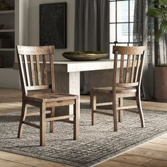New Filkins Solid Wood Dining Chair (Set of by Greyleigh. kitchen dining furniture sale from top store Industrial Dining Chairs, Solid Wood Dining Chairs, Dining Table In Kitchen, Upholstered Dining Chairs, Dining Chair Set, Dining Room Chairs, Dining Furniture, Dining Tables, Patio Dining