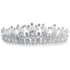 Bling Jewelry Flower Power Tiara ($30) ❤ liked on Polyvore featuring jewelry, tiaras, accessories, hair accessories, crowns, decorative-hair-combs, bride jewelry, bridal jewellery, bridal crown and rhinestone jewelry
