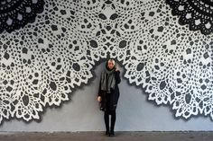 New Lace Street Art Created with Ceramic, Textile, and Spray Paint by NeSpoon | Colossal | Bloglovin'