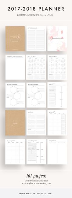 This is such a fun and easy way to set goals for 2017 - 2018! This planner comes with monthly calendars, weekly planners, goal worksheets, yearly planners & more!
