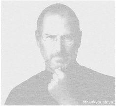 Portrait of Steve Jobs made of tweets