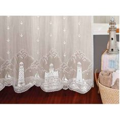 "<p> The <span style=""font-weight: bold;"">Lighthouse Shower curtain</span> is a distinctive lace featuring marine designs of delicate lighthouses and anchors scattered throughout the 72x72 inch shower curtain.This shower curtain  has sewn button holes for hanging . Great calm refreshing look.  This is the perfect coastal shower curtain to catch the shore%2..."