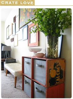 i love the up-cycled produce crates used as storage shelves juxtaposed with lots of sleek and modern design elements