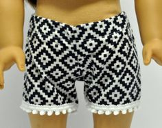 Chambray Shorts with Lace Trim 18 Inch Doll by CircleCSewing
