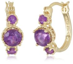 18k Gold Plated Sterling Silver African Amethyst  These small hoop earrings are made from gold-dipped sterling silver and hold a total of six vibrant purple African amethyst gemstones.