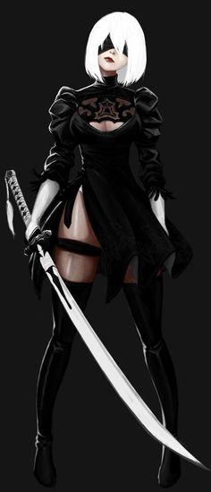 YoRHa No.2 Type B Anime Characters, Fantasy Characters, Comic Art, Samurai Drawing, Samurai Anime, Art Drawings, Fantasy Katana, Drakengard 3, Anime Warrior Girl