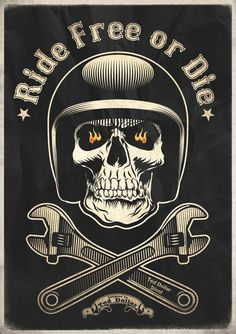 pinterest.com/fra411 #bike #art - Ride Free or Die by Ted Dollar