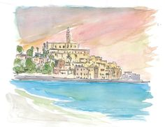 """Saatchi Art is pleased to offer the painting, """"Tel Aviv Jaffa View of Old Town And Sea,"""" by M Bleichner, available for purchase at $369 USD. Original Painting: Watercolor on Paper. Size is 7.9 H x 11.8 W x 0.4 in. Original Paintings For Sale, Original Artwork, Watercolor Paper, Watercolor Paintings, Tel Aviv Beach, City Painting, Impressionism Art, Old Town, Buy Art"""