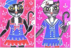 ACEO Original Cat Art Nautical Sailor kitties set of 2 C.O.R.K. by BRIDEOFHYDE