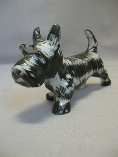 $9.95 Ceramic Black & White Hand Painted Scottish by NANCYSANTIQUES