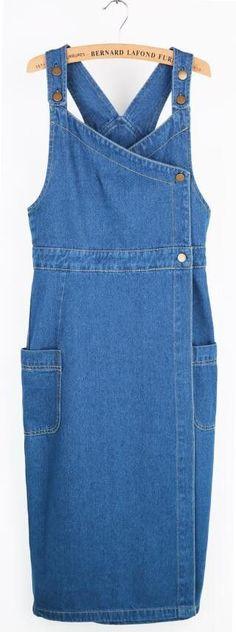 New Denim Plus Size XL With Straps Women Dress