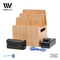 MobileVision Bamboo Charging Station Personal  Compact New Version II for Smartphones  Tablets Includes Powermod 4USB Charging Strip *** Read more at the affiliate link Amazon.com on image. Cell Phone Accessories, Usb Flash Drive, Compact, Phones, Bamboo, Smartphone, Gadgets, Note, Amazon