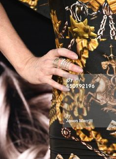 Kristin Bauer van Straten wearing the Crystal Ladder Ring in gold at the premiere of HBO's True Blood's final season.