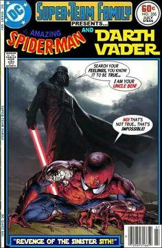 Spider-Man vs Darth Vader - Star Wars x Marvel Comics Crossover Darth Vader, Vader Star Wars, Star Wars Art, Comic Book Covers, Comic Book Heroes, Comic Books Art, Comic Art, Joker Comic, Looney Tunes