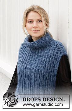 Drops Design, Knitting Patterns Free, Free Knitting, Free Pattern, Knitting Sweaters, Crochet Girls, Knit Crochet, Casting Off Knitting, Knit Vest Pattern
