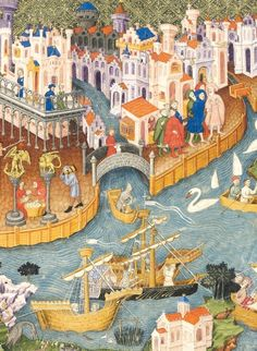 Treasures postcard collection: V is for Venice  Marco Polo leaving Venice for the East, from an early 15th-century English manuscript of Marco Polo's Travels in French, illuminated by Johannes, bound together with The Romance of Alexander and completed in Flanders in 1344.
