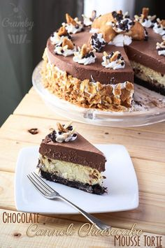 Chocolate Cannoli Cheesecake Mousse Torte | This fantastically decadent cake combines four very different desserts in to one - brownie, cheesecake, cannoli, and chocolate mousse!