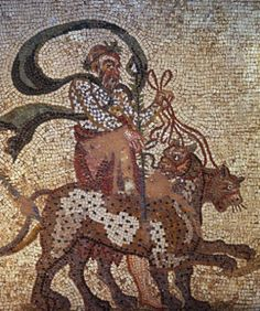 Silenus with leopards pulling Dionysus, located in Kato Paphos (Cyprus) near the harbour. The Mosaic's consist of the House of Dionysos, the House of Theseus and the House of Aion.