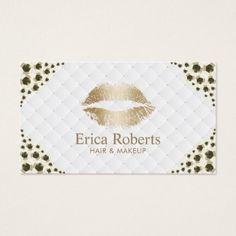 #makeupartist #businesscards - #Makeup Artist Golden Lips Modern Gold Sequins Business Card