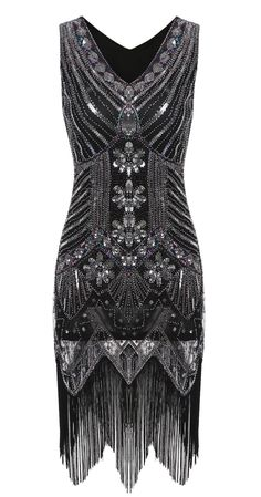 Silver Vintage 1920s Style Tassel Sequined Flapper Party Dress
